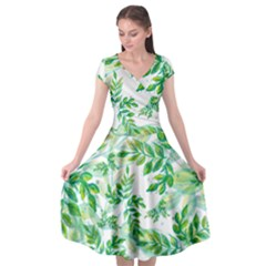 Leaves Green Pattern Nature Plant Cap Sleeve Wrap Front Dress