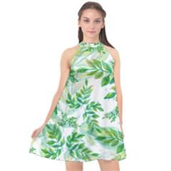 Leaves Green Pattern Nature Plant Halter Neckline Chiffon Dress