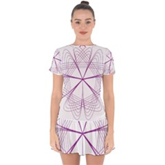 Spirograph Circle Geometric Drop Hem Mini Chiffon Dress