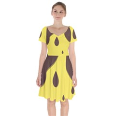 Chocolate Yellow Cake Banana Short Sleeve Bardot Dress
