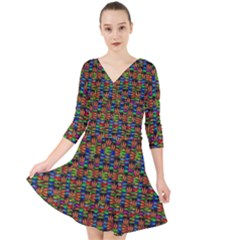 For The Love Of Soul And Mind In A Happy Mood Quarter Sleeve Front Wrap Dress by pepitasart