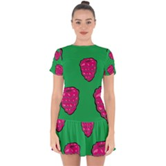 Food Fruit Sweet Raspberry Drop Hem Mini Chiffon Dress by Jojostore