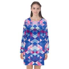 Digital Art Geometry Triangle Long Sleeve Chiffon Shift Dress  by Jojostore