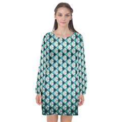 Digital Art Triangle Long Sleeve Chiffon Shift Dress