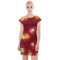 Leaf Leaves Bokeh Background Cap Sleeve Bodycon Dress by Mariart