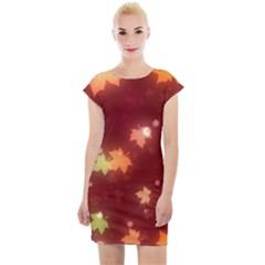 Leaf Leaves Bokeh Background Cap Sleeve Bodycon Dress