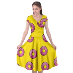 Background Donuts Sweet Food Cap Sleeve Wrap Front Dress