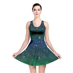 Background Blue Green Stars Night Reversible Skater Dress