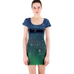 Background Blue Green Stars Night Short Sleeve Bodycon Dress by Alisyart