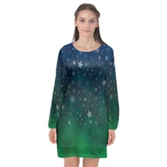 Background Blue Green Stars Night Long Sleeve Chiffon Shift Dress