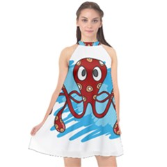 Octopus Sea Ocean Cartoon Animal Halter Neckline Chiffon Dress