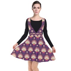 Background Floral Pattern Purple Plunge Pinafore Dress by Desi8477