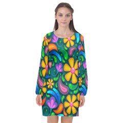 Floral Paisley Background Flower Green Long Sleeve Chiffon Shift Dress  by Desi8477