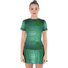 Board Conductors Circuits Drop Hem Mini Chiffon Dress by Desi8477