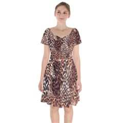 Luxury Animal Print Short Sleeve Bardot Dress by tarastyle