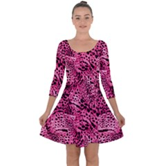 Luxury Animal Print Quarter Sleeve Skater Dress by tarastyle