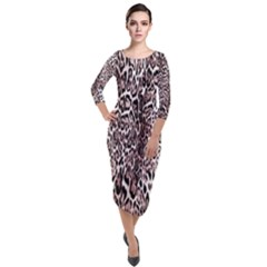 Luxury Animal Print Quarter Sleeve Midi Velour Bodycon Dress by tarastyle
