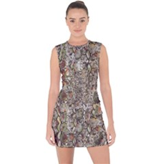 Luxury Animal Print Lace Up Front Bodycon Dress by tarastyle