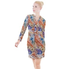 Luxury Animal Print Button Long Sleeve Dress by tarastyle