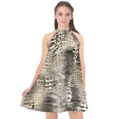 Luxury Animal Print Halter Neckline Chiffon Dress