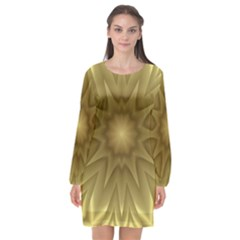 Background Pattern Golden Yellow Long Sleeve Chiffon Shift Dress