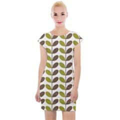Leaf Plant Pattern Seamless Cap Sleeve Bodycon Dress by Pakrebo
