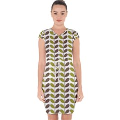 Leaf Plant Pattern Seamless Capsleeve Drawstring Dress  by Pakrebo