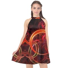 Background Fractal Abstract Halter Neckline Chiffon Dress