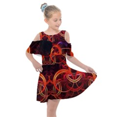 Background Fractal Abstract Kids  Shoulder Cutout Chiffon Dress by Pakrebo