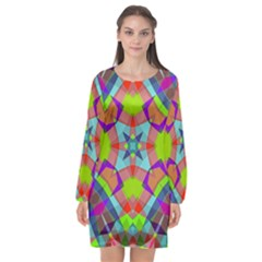 Farbenpracht Kaleidoscope Pattern Long Sleeve Chiffon Shift Dress  by Pakrebo