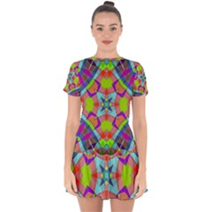 Farbenpracht Kaleidoscope Pattern Drop Hem Mini Chiffon Dress by Pakrebo
