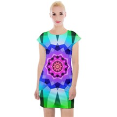 Ornament Kaleidoscope Cap Sleeve Bodycon Dress