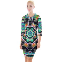 Fractal Chaos Symmetry Psychedelic Quarter Sleeve Hood Bodycon Dress