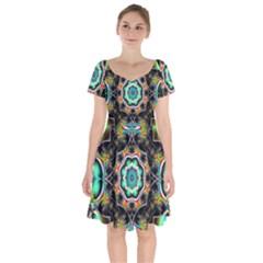 Fractal Chaos Symmetry Psychedelic Short Sleeve Bardot Dress