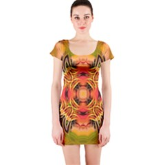Fractals Graphic Fantasy Colorful Short Sleeve Bodycon Dress