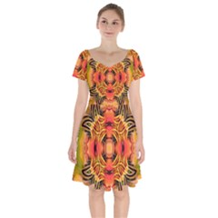 Fractals Graphic Fantasy Colorful Short Sleeve Bardot Dress