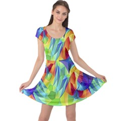 Modern Art Fractal Background Cap Sleeve Dress
