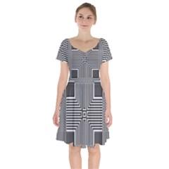 Construction Background Geometric Short Sleeve Bardot Dress by Pakrebo