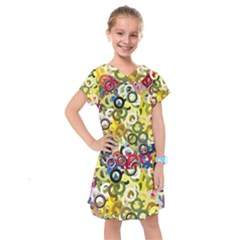 Pattern Background Abstract Color Kids  Drop Waist Dress by Pakrebo
