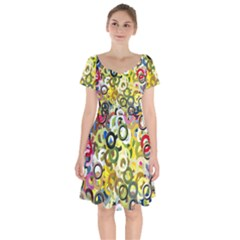 Pattern Background Abstract Color Short Sleeve Bardot Dress