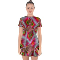Fractal Art Pictures Digital Art Drop Hem Mini Chiffon Dress