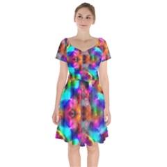 Farbenpracht Kaleidoscope Short Sleeve Bardot Dress