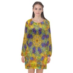 Farbenpracht Kaleidoscope Long Sleeve Chiffon Shift Dress