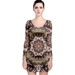 Seamless Pattern Floral Flower Long Sleeve Bodycon Dress