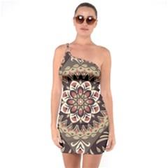 Seamless Pattern Floral Flower One Soulder Bodycon Dress by Pakrebo
