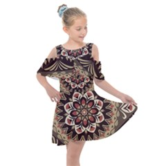 Seamless Pattern Floral Flower Kids  Shoulder Cutout Chiffon Dress by Pakrebo