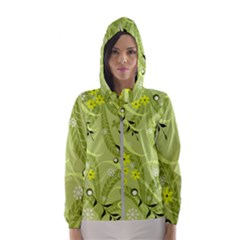 Seamless Pattern Green Garden Hooded Windbreaker (women) by Pakrebo