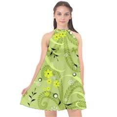 Seamless Pattern Green Garden Halter Neckline Chiffon Dress
