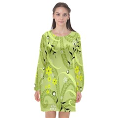 Seamless Pattern Green Garden Long Sleeve Chiffon Shift Dress