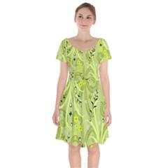 Seamless Pattern Green Garden Short Sleeve Bardot Dress